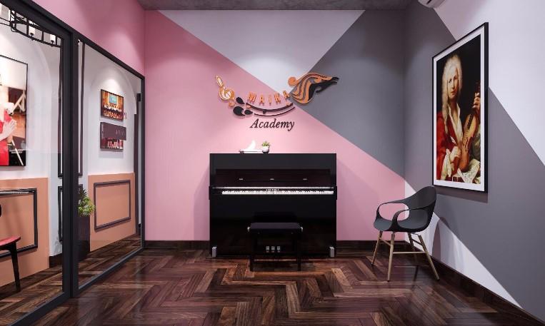 Phòng Học Piano với thiết kế ấm cúng tông hồng và ghi